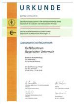 Zertifikatsurkunde: Anerkanntes Gefäßzentrum